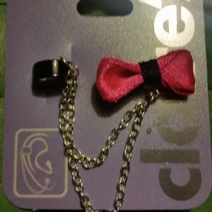 Black & Pink Bow Cuff Earring Ear Set 2 Piece